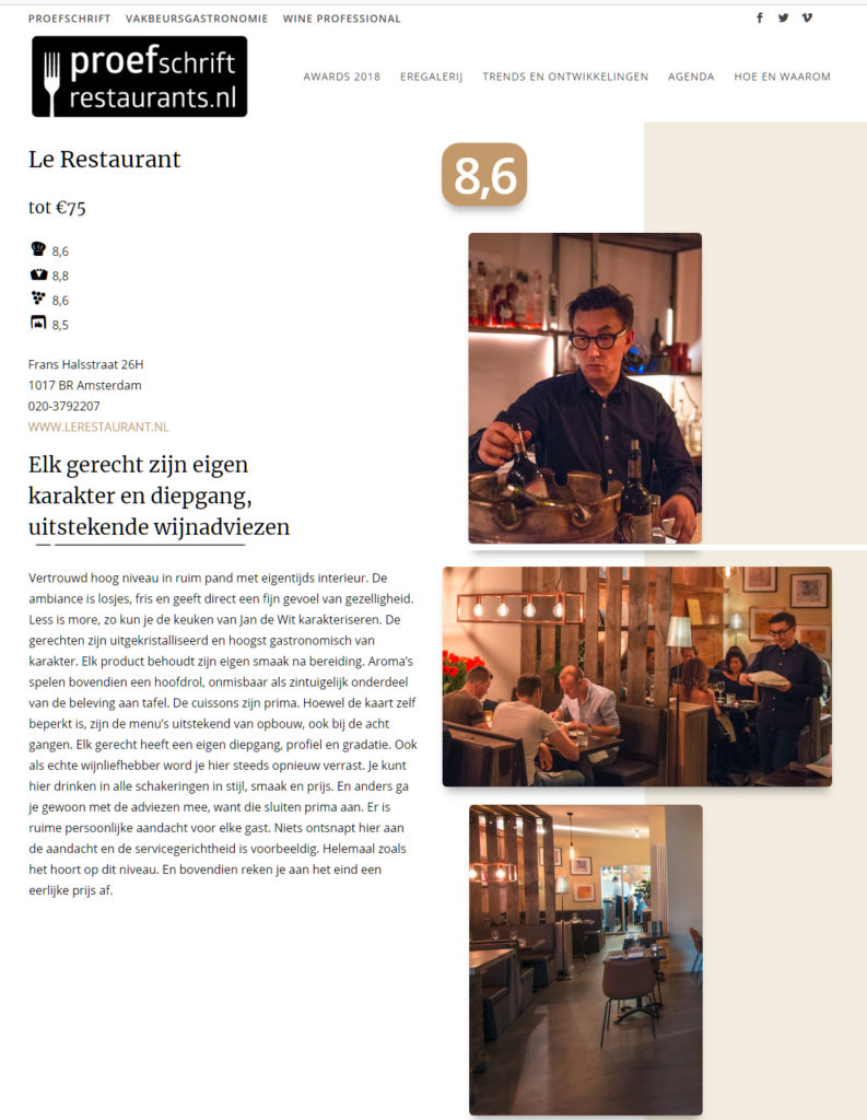 Proefschrift Restaurants Amsterdam